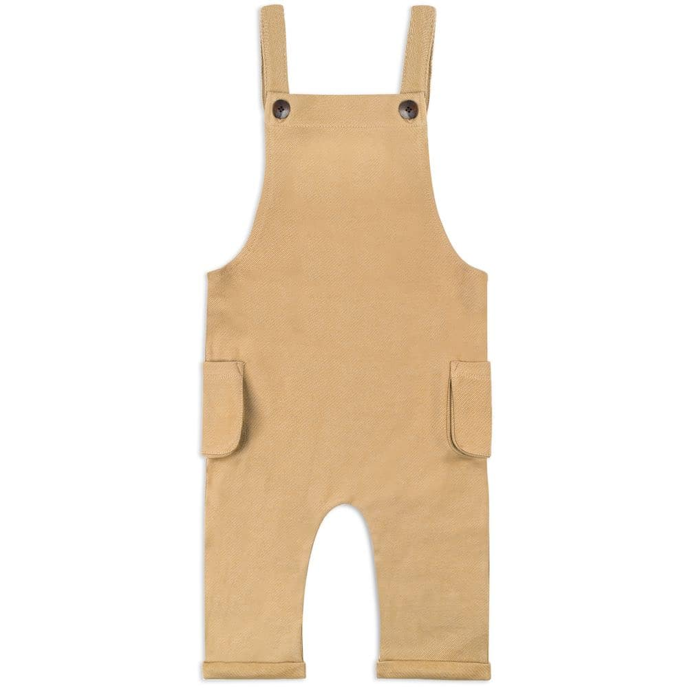Baby or Child's Overalls in the Organic Cotton and Recycled Polyester Blend Rust Denim Fabric by Milkbarn Kids Front