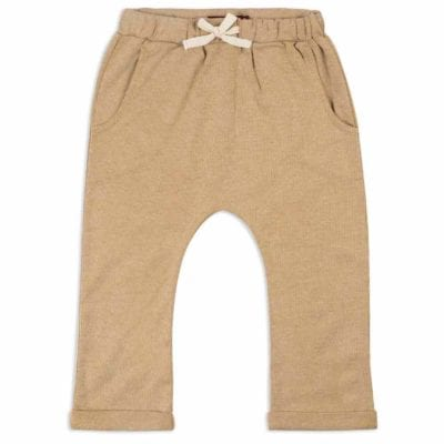Jogger Pant or Lounge Pant in the Organic Cotton and Bamboo Blend Rust Pinstripe by Milkbarn Kids (Front)