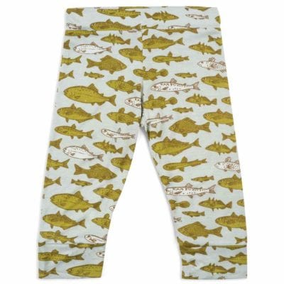 Bamboo Legging or Lounge Pant in the Blue Fish or Bass by Milkbarn Kids