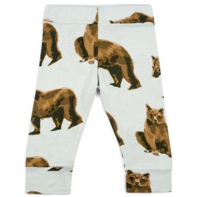 Bamboo Baby Legging or Lounge Pant in the Brown Bear Wildlife Print by Milkbarn Kids