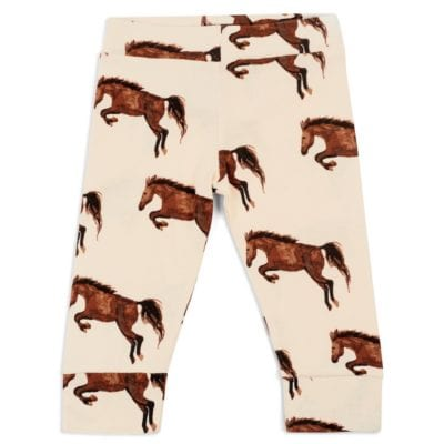 Organic Cotton Legging or Lounge Pant in the Natural Horse or Stallion or Mare Print by Milkbarn Kids