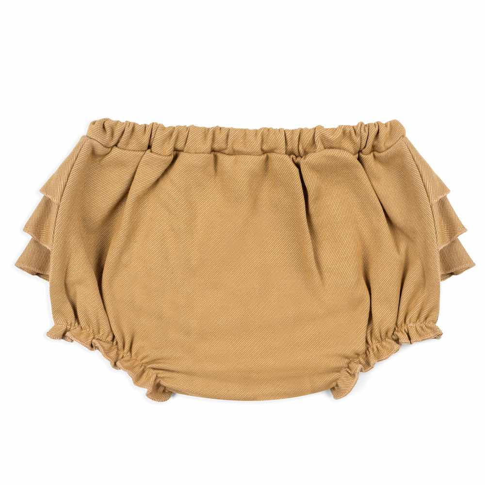 25004 - Baby Girl Ruffle Bloomer in the Organic Cotton and Recycled Polyester Rust Denim Blend by Milkbarn Kids (Front)