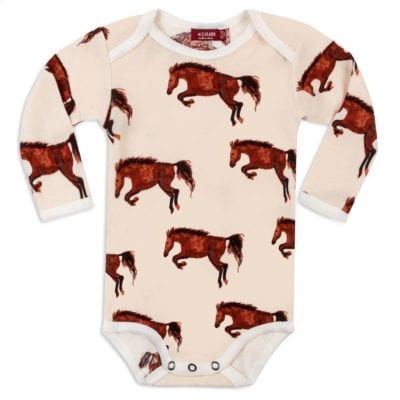 Organic Cotton Baby Long Sleeve One Piece or Onesie in the Natural Horse or Stallion or Mare Print by Milkbarn Kids