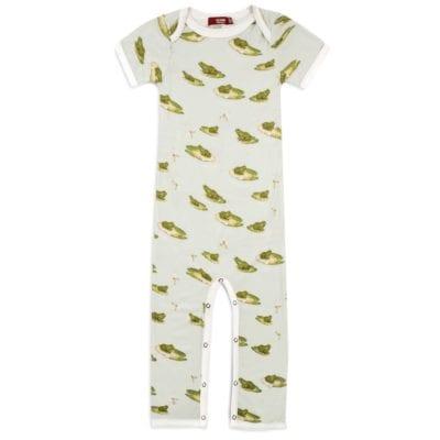 Bamboo Baby Romper Jumpsuit in the Leapfrog Print by Milkbarn Kids