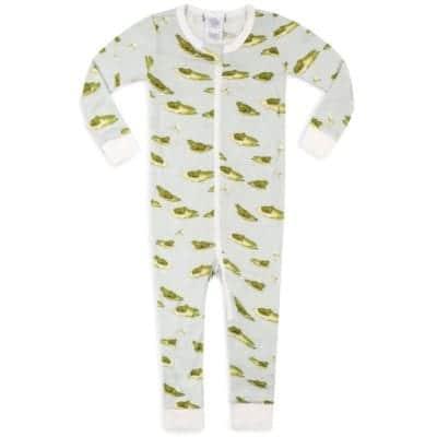 Bamboo Baby Zipper Pajamas or PJs in the Leapfrog Print by Milkbarn Kids