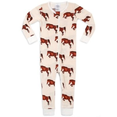 Organic Cotton Baby Zipper Pajamas or PJs in the Natural Horse or Stallion or Mare Print by Milkbarn Kids