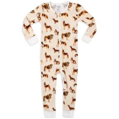 Organic Cotton Baby Zipper Pajamas or PJs in the Natural Dog Print by Milkbarn Kids