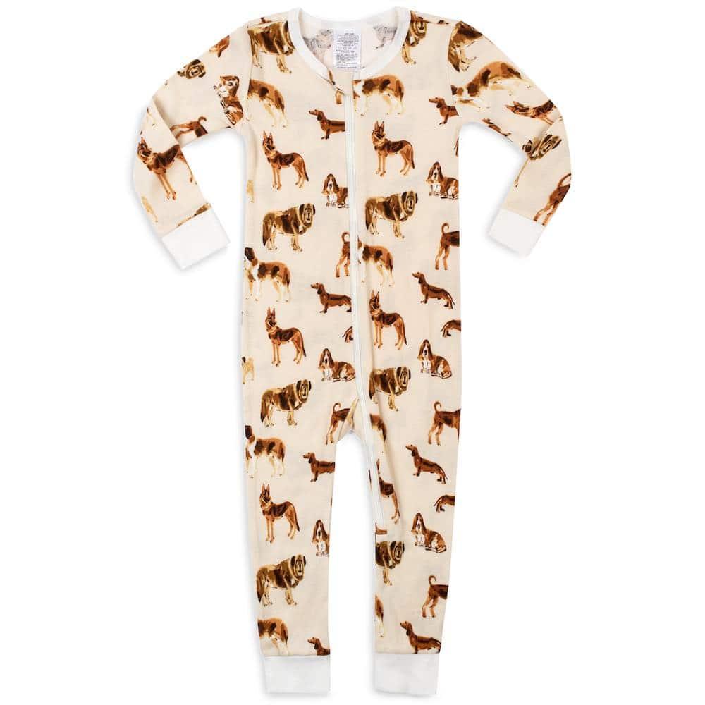 Organic Cotton Baby Zipper Pajamas or PJs in the Natural Dog Print by Milkbarn Kids