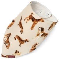 41115 - Kerchief Bib or Bandana Bib made of Organic Cotton in the Natural Dog Print by Milkbarn Kids