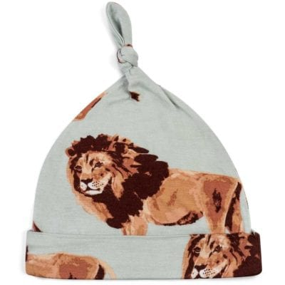 Bamboo Baby Knotted Hat or Beanie in the Lion Wildlife Print by Milkbarn Kids