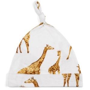 Bamboo Baby Knotted Hat or Beanie in the Orange Giraffe Print by Milkbarn Kids