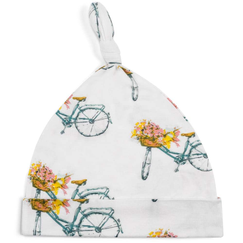 Bamboo Baby Knotted Hat or Beanie in the Floral Bicycle Print by Milkbarn Kids