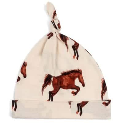 Organic Cotton Baby Knotted Hat or Beanie in the Natural Horse or Stallion or Mare Print by Milkbarn Kids