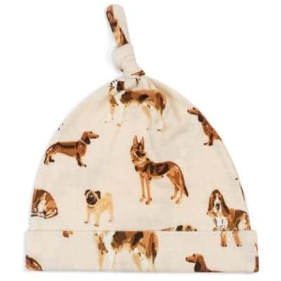 Organic Baby Knotted Hat or Beanie in the Natural Dog Print by Milkbarn Kids