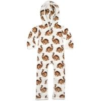 36100 - Organic Cotton Baby Hooded Romper in the Bunny or Rabbit Print by Milkbarn Kids