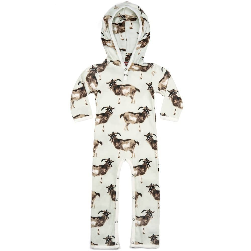 Organic Cotton Baby Hooded Romper or Jumpsuit in the Goat Print by Milkbarn Kids