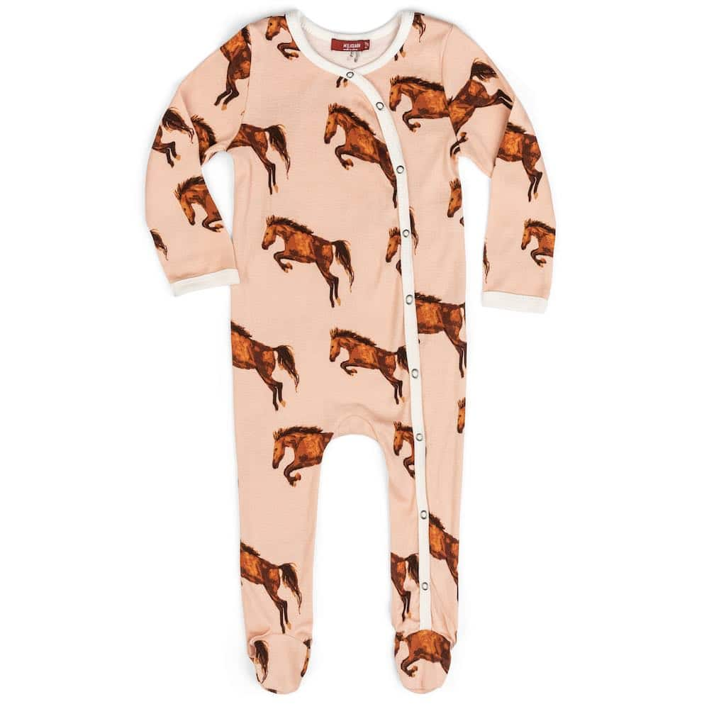 Baby and Newborn Organic Cotton Footed Romper in the Horse Print by Milkbarn Kids