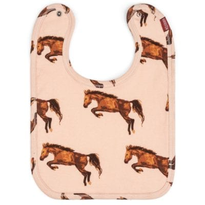 Organic Cotton Traditional Bib in the Horse Print by Milkbarn Kids
