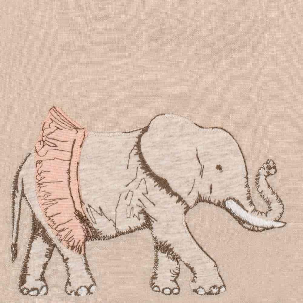Tutu Elephant Detail of the Organic Applique Linen Bib by Milkbarn Kids