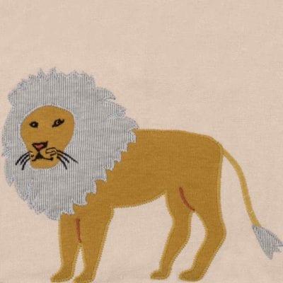 Lion Applique Organic Linen Bib Detail by Milkbarn Kids