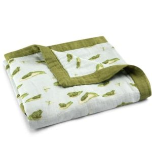 Big Lovey Organic Cotton and Bamboo Blanket in the Leapfrog Print by Milkbarn Kids Folded