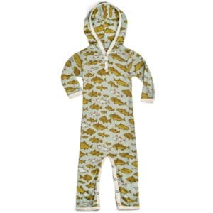 Bamboo Baby Hooded Romper or Jumpsuit in the Blue Fish Print by Milkbarn Kids