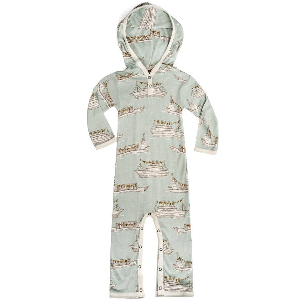Bamboo Baby Hooded Romper or Jumpsuit in the Lion Print by Milkbarn Kids