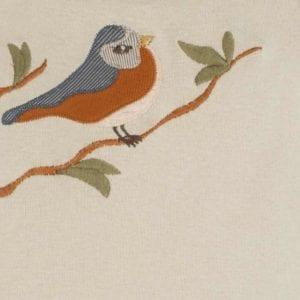 Blue Bird Organic Cotton Applique One Piece Detail by Milkbarn Kids