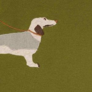 Green Dog Organic Cotton Applique One Piece Detail by Milkbarn Kids