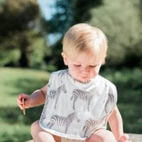 Little Boy in the Park Wearing the Organic Cotton Traditional Bib in the Grey Zebra Print by Milkbarn Kids