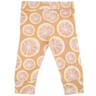 Organic Cotton Baby Leggings or Tights in the Grapefruit Print by Milkbarn Kids