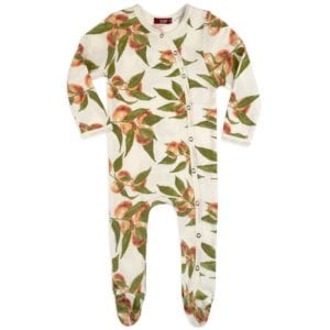 Peaches Organic Cotton Footed Romper by Milkbarn Kids