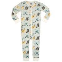 38117 - Bamboo Zipper Pajama in the Butterfly Print by Milkbarn Kids