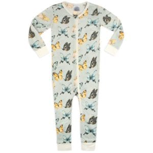 Bamboo Zipper Pajama in the Butterfly Print by Milkbarn Kids