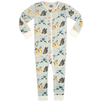 Bamboo Zipper Pajama in the Butterfly Print by Milkbarn Kids