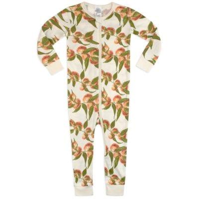 Organic Cotton Zipper Pajama in the Peaches Print by Milkbarn Kids
