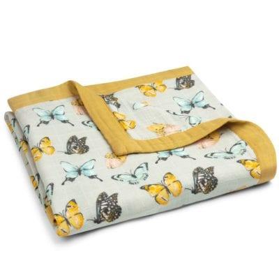 Big Lovey Blanket in the Butterfly Print by Milkbarn Kids Folded