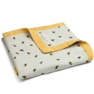 Big Lovey Muslin Blanket in the Bumblebee Print by Milkbarn Kids Folded