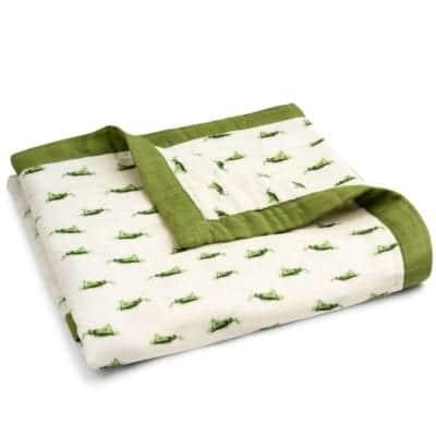 Grasshopper Big Lovey Muslin Blanket by Milkbarn Kids Folded