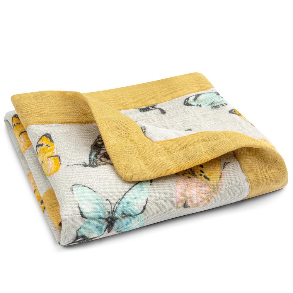 Butterfly Bamboo Muslin Mini Lovey Blanket by Milkbarn Kids Folded
