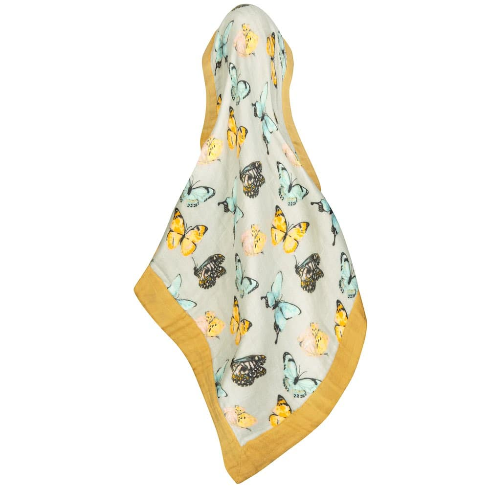 Butterfly Bamboo Muslin Mini Lovey Blanket by Milkbarn Kids Unfolded