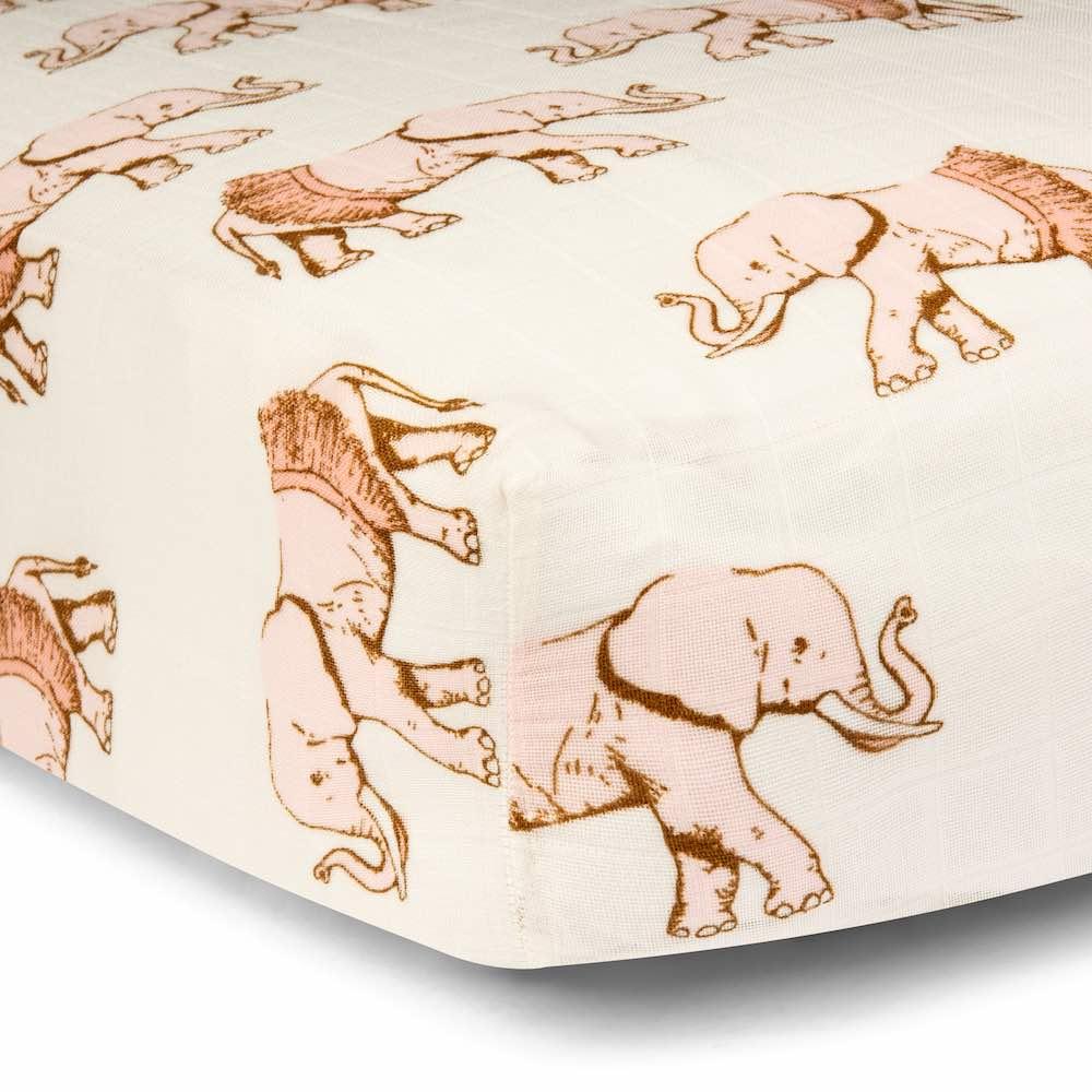 Tutu Elephant Muslin Fitted Crib Sheet by Milkbarn Kids