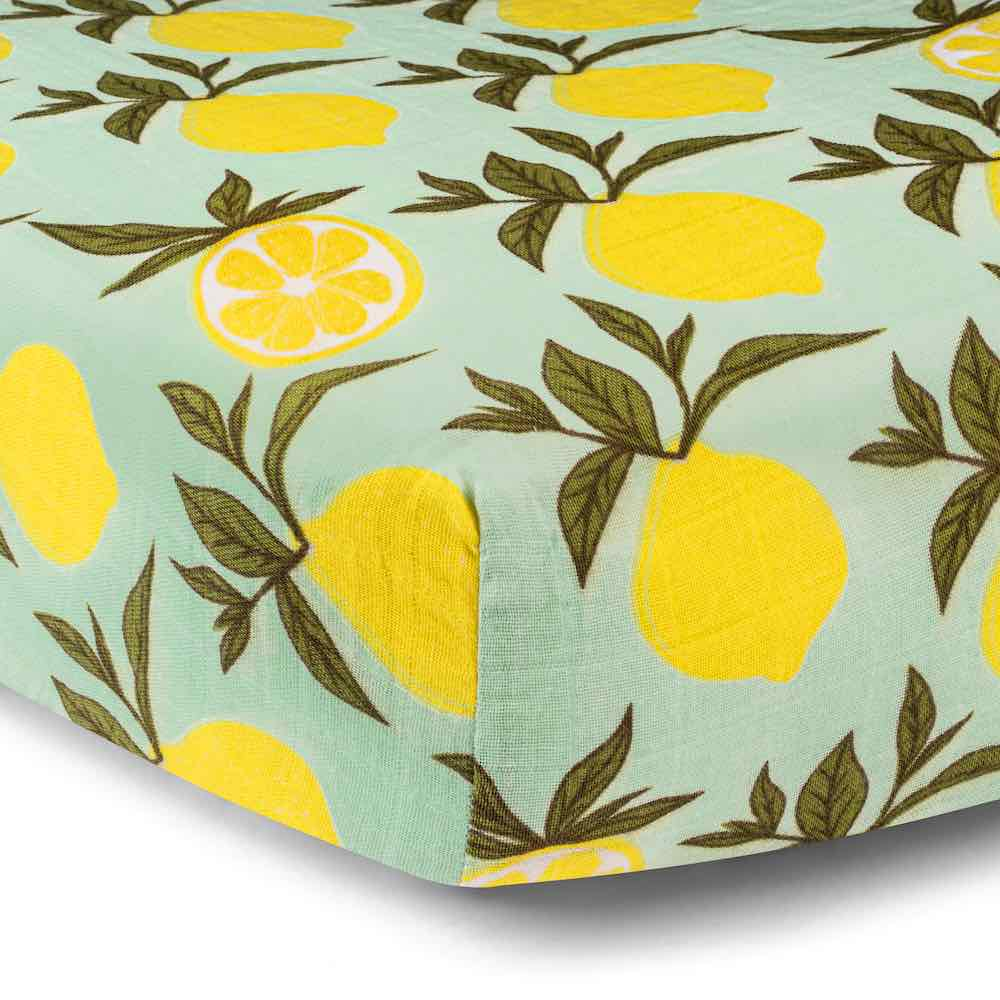 Lemon Organic Cotton Muslin Fitted Crib Sheet by Milkbarn Kids