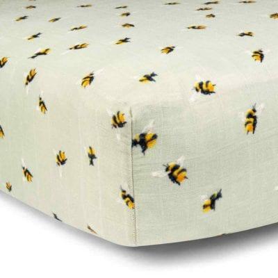 Bumblebee Bamboo Muslin Fitted Crib Sheet