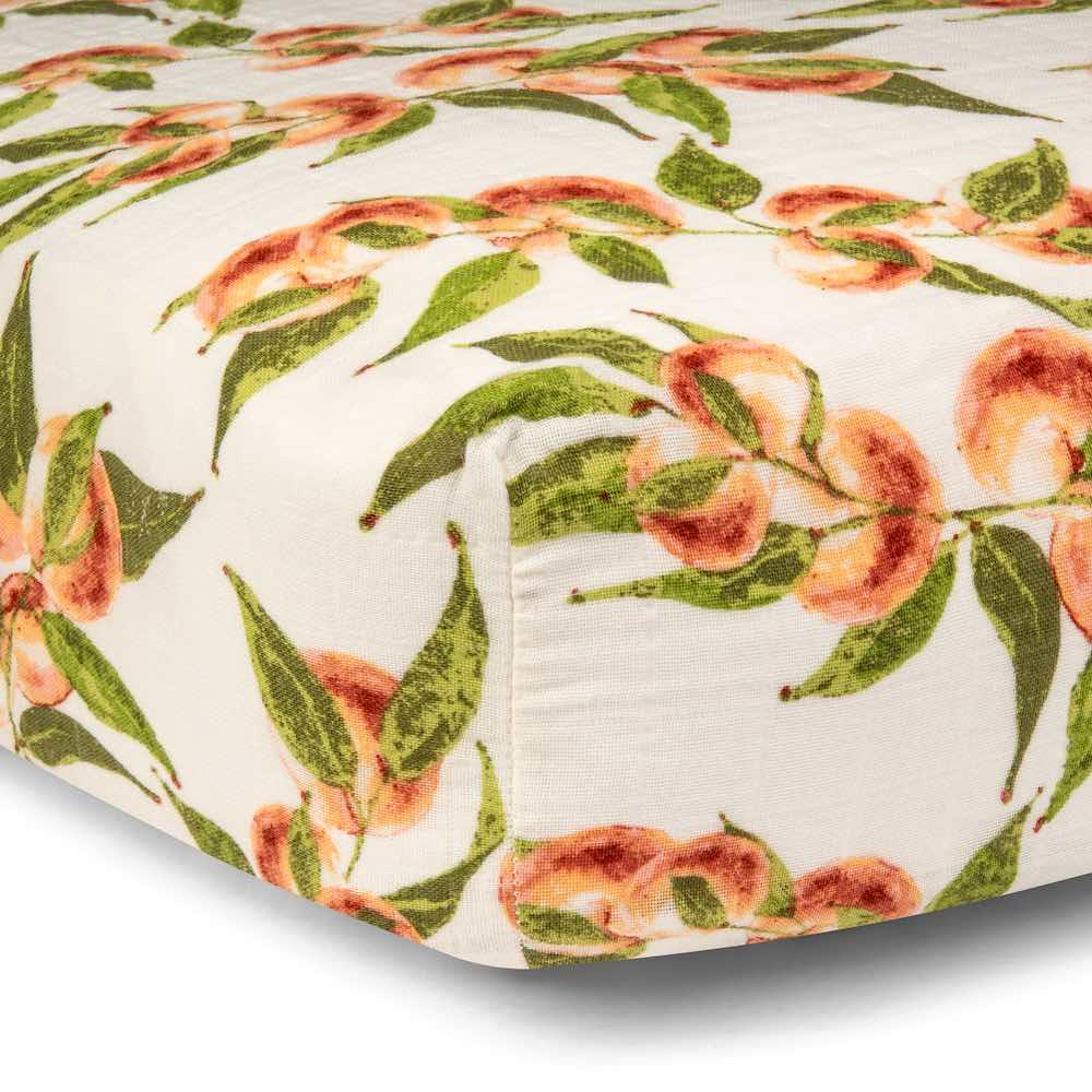 Peaches Organic Cotton Muslin Fitted Crib Sheet by Milkbarn Kids