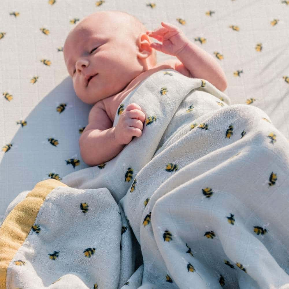 Baby on the Bamboo Bumblebee Muslin Fitted Sheets and Big Lovey by Milkbarn Kids