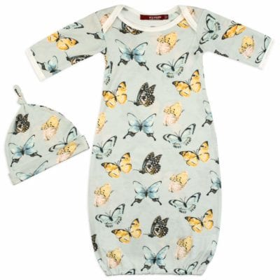 Butterfly Bamboo Gown and Hat Set by Milkbarn Kids