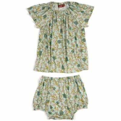 Blue Floral Bamboo Dress and Bloomers by Milkbarn Kids