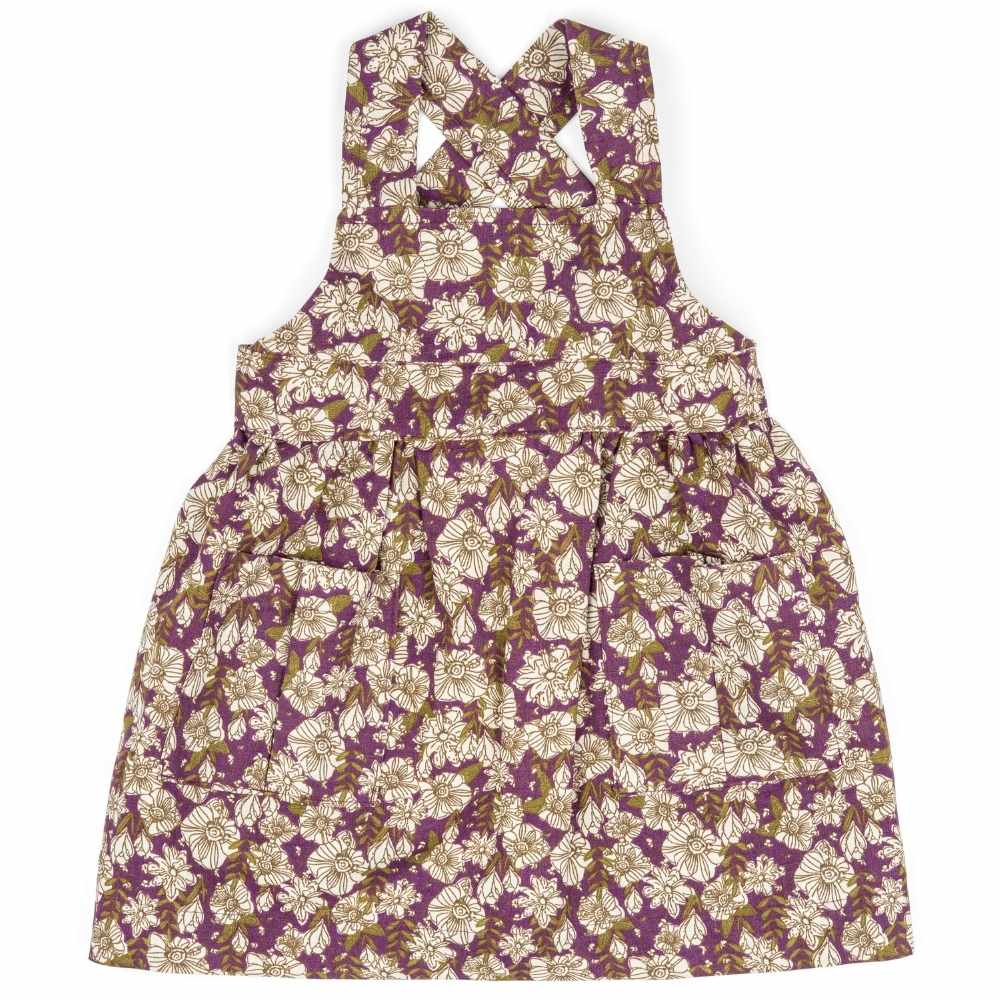 Purple Floral Organic Linen and Cotton Pinafore Apron by Milkbarn Kids