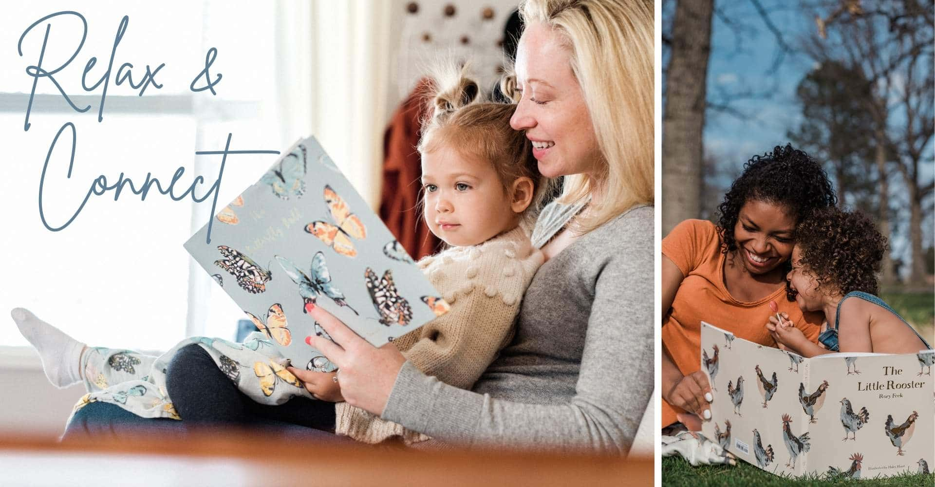 Mom and children reading the latest children's books by Milkbarn Kids. The Butterfly Ball by Kathryn Trainor and The Little Rooster by Rory Feek